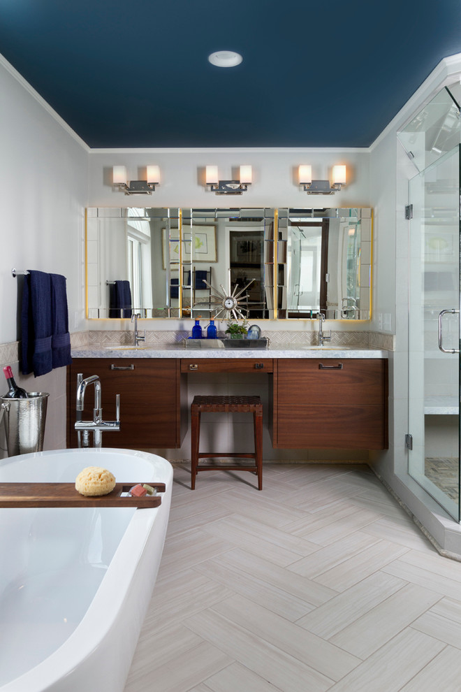 Trendy master gray tile and porcelain tile ceramic tile bathroom photo in Minneapolis with an undermount sink, flat-panel cabinets, medium tone wood cabinets, onyx countertops, a one-piece toilet and gray walls