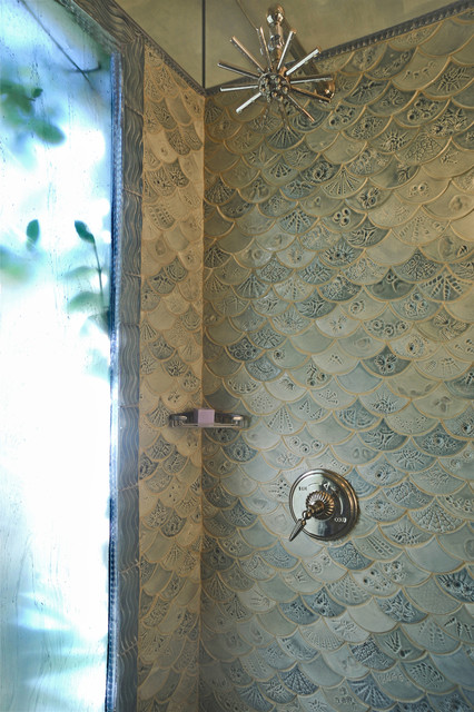 Fishscale bathroom traditional bathroom dc metro for Fish scale tiles bathroom