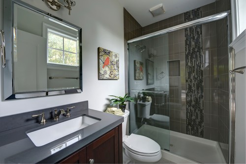 Fitted Furniture Vanity and Mirror with Artistic Tile in Shower