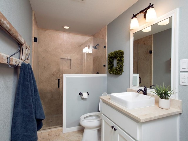 walk in shower mid sized farmhouse walk in shower idea in austin - Fixer Upper Bathroom