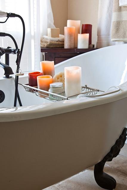 Flameless Candles and Clawfoot tub farmhouse-bathroom