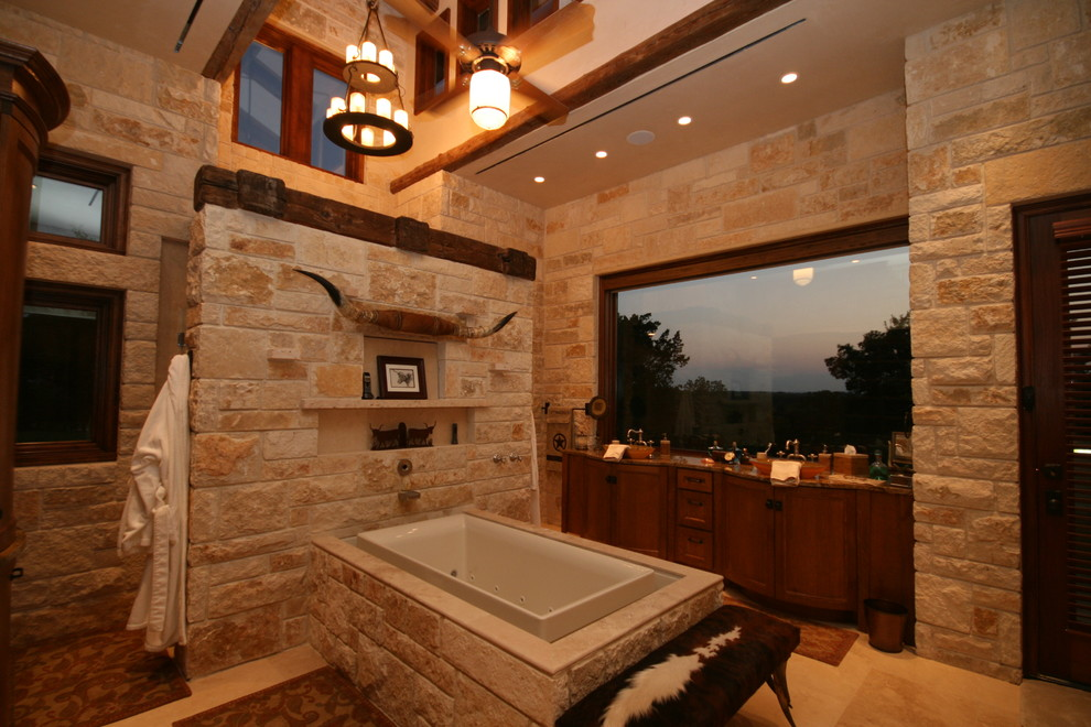 Inspiration for a rustic bathroom remodel in Dallas with dark wood cabinets