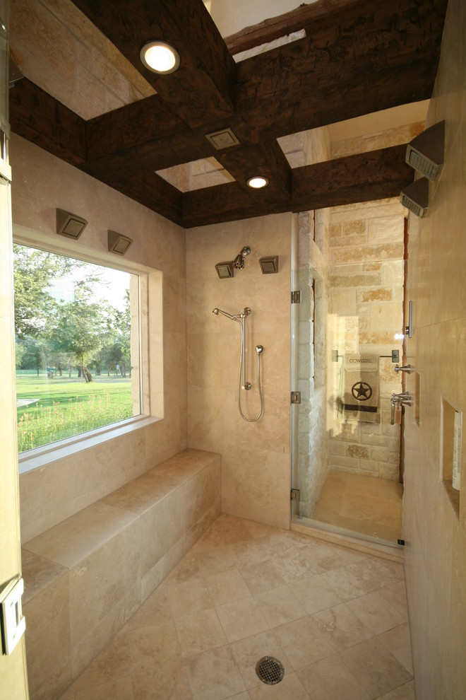 Example of a mountain style beige tile bathroom design in Dallas