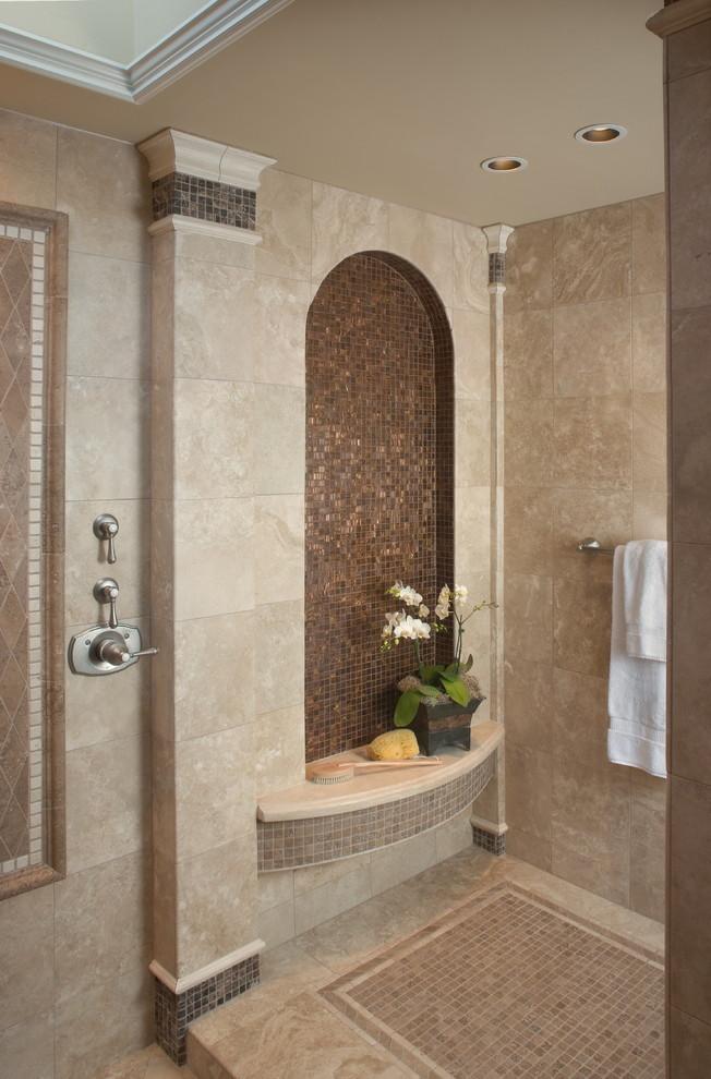Tuscan mosaic tile bathroom photo in San Diego with a niche