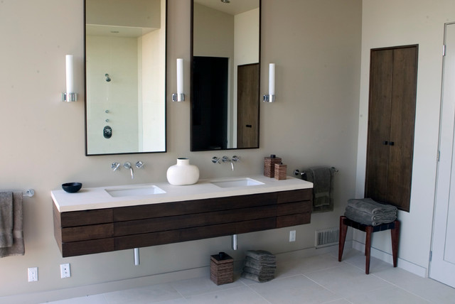 Large Modern Master Bathroom In Los Angeles With An Open Shower, Porcelain  Floors, Dark