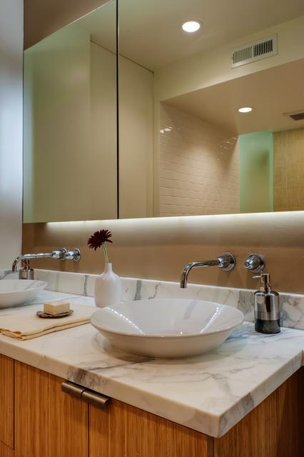 Floating mirror at vanity - Modern - Bathroom - San ...