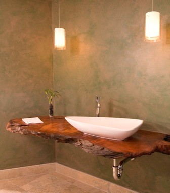 Floating Redwood Counter With Hanging Lights Asian Bathroom Seattle By Christine Suzuki