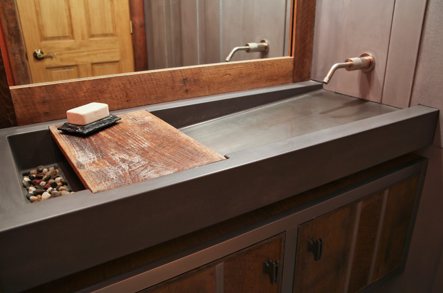 Floating vanities and concrete sinks contemporary for Diy floating vanity sink