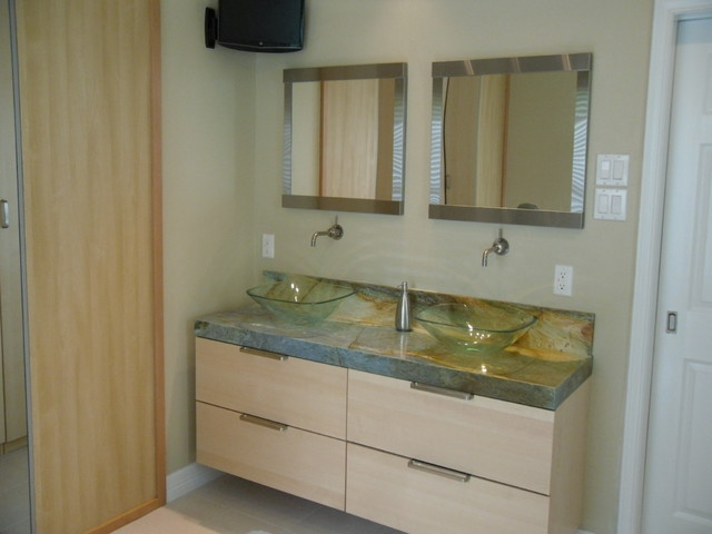 Floating vanity and Granite countertop contemporary-bathroom