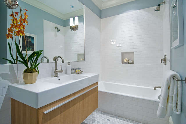 floating vanity with awning door, vertical grain beech, farmhouse sink contemporary-bathroom
