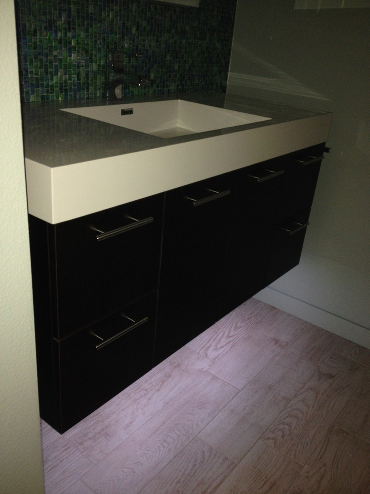 Floating Vanity With Led Under Cabinet Lighting Transitional Bathroom Hawaii By By Design Builders Houzz