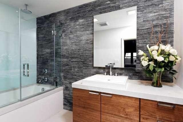 Floating Walnut Vanity Contemporary Bathroom Dc