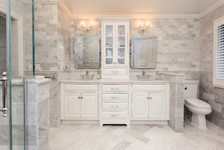 flush inset cabinetry double vanity - traditional