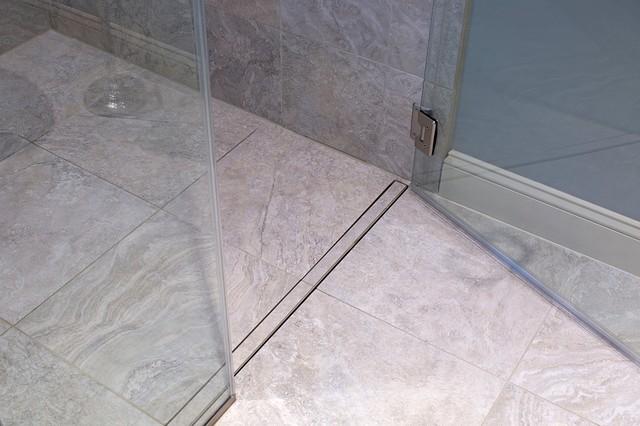 Flush, Linear Shower Drain Modern Bathroom