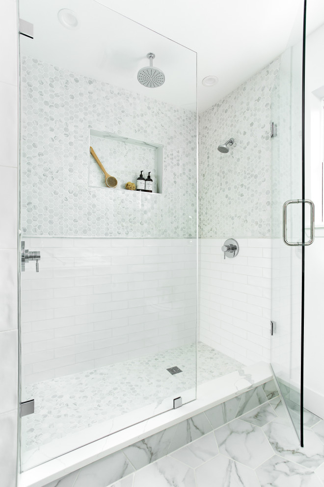 Inspiration for a transitional white tile and marble tile white floor bathroom remodel in Dallas with white walls