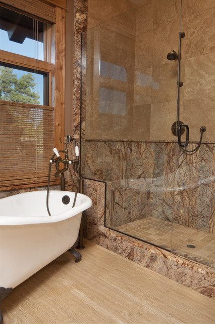 Forest brown marble tile modern bathroom milwaukee for Bathroom ideas marble tile