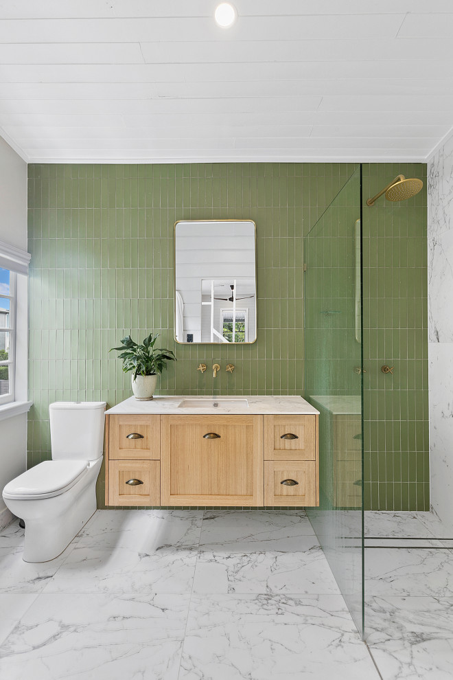 Example of a large transitional 3/4 green tile porcelain tile, gray floor, single-sink and shiplap ceiling bathroom design in Brisbane with light wood cabinets, an undermount sink, marble countertops, white countertops, shaker cabinets, gray walls and a floating vanity