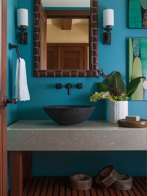 colorful tropical bathroom