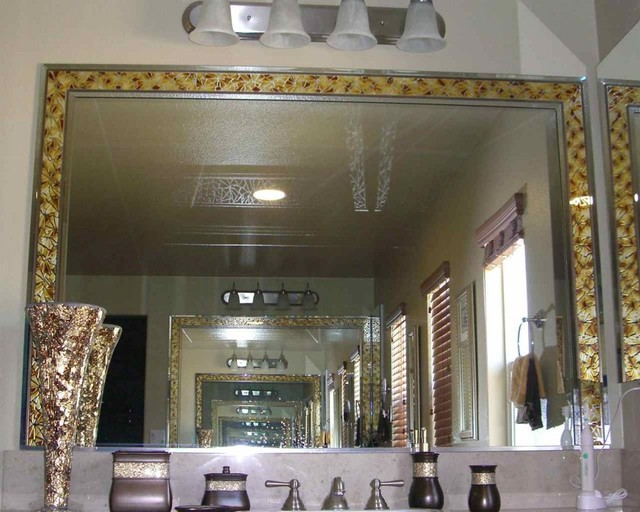 Fragments Mirror Border Decorative Mirror With Etched Carved Design Bathroom Other By