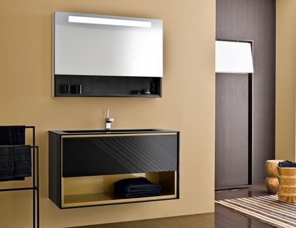 Frame Black Lacquer Vanity Modern Bathroom New York By Nella Vetrina