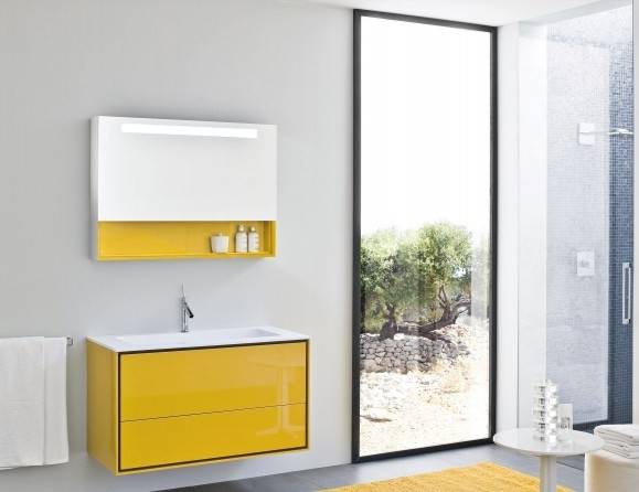 Frame Yellow Lacquer Vanity Modern Bathroom New York By Nella Vetrina