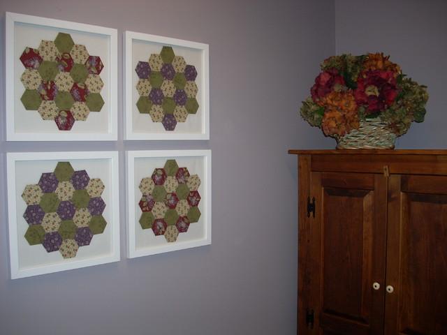 Framed Geometric Quilt Art eclectic-bathroom