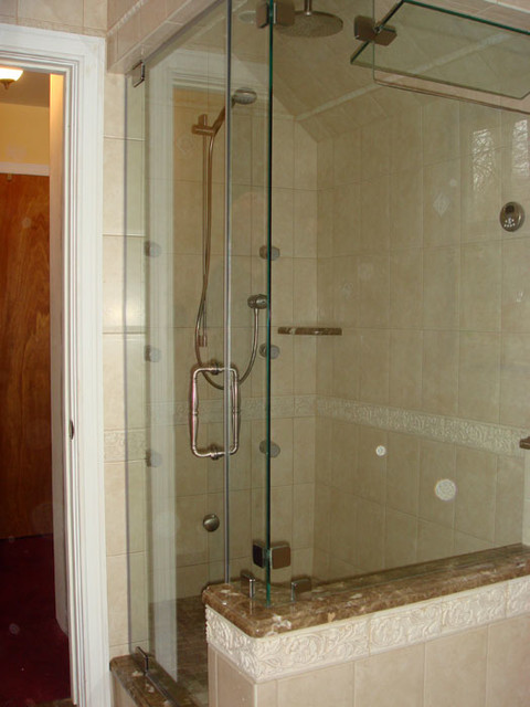 "Frameless 3/8"" Thick Right Angled Shower Enclosure. CRL Hardware Brushed Nickel. contemporary-bathroom"