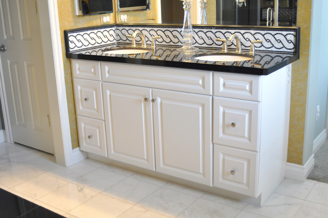 Frameless Cabinetry: Hamilton Thermofoil with a White Finish - Transitional - Bathroom - Los ...
