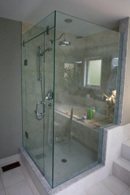 Frameless Corner Shower With Glass Header Support Panel  : modern bathroom from www.houzz.com size 426 x 640 jpeg 63kB