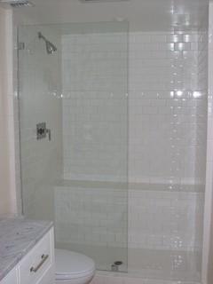 Frameless glass panel shower door - Traditional - Bathroom - Los Angeles - by Algami Glass Doors