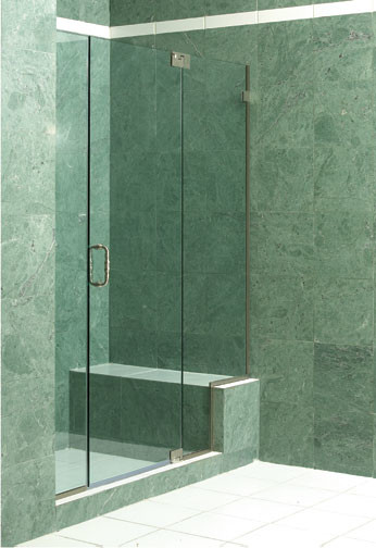 Frameless Panel Door Notched Panel with Glass to Glass Pivot Hinges