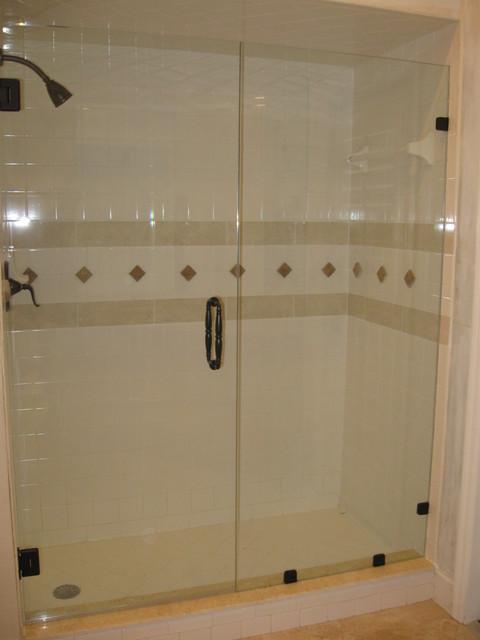 Frameless shower door panel traditional bathroom for 3 panel tub shower doors