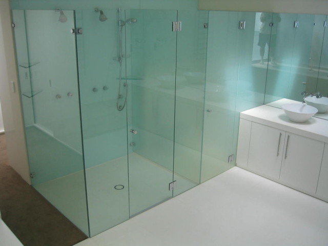 Bathroom Partition Glass Model frameless shower door and partition - modern - bathroom - new york