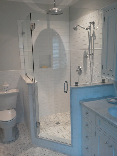 Frameless shower doors traditional bathroom for Half wall shower glass