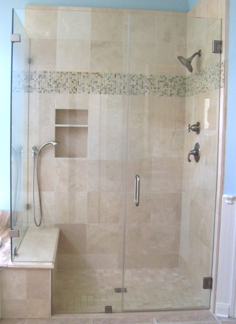 Frameless Shower Enclosure Traditional Bathroom
