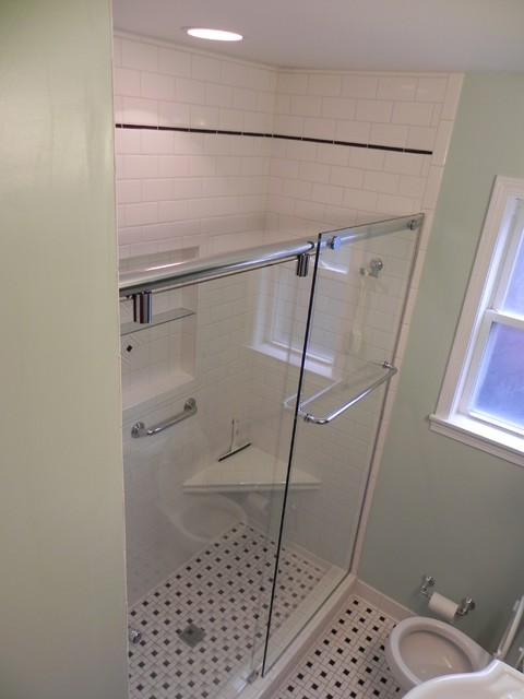 Frameless Sliding Shower Doors Traditional Bathroom