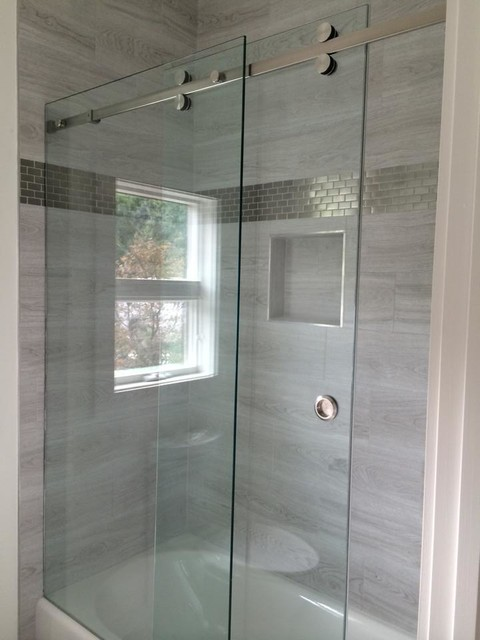 Frameless Sliding Shower Doors frameless sliding shower enclosures - modern - bathroom - raleigh