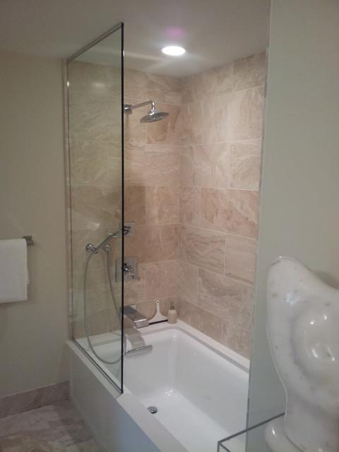Frameless Sliding Splash Guards - Bathroom - other metro - by Designed ...