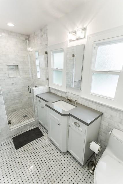 Charming Frameless Stand Up Shower Modern Bathroom