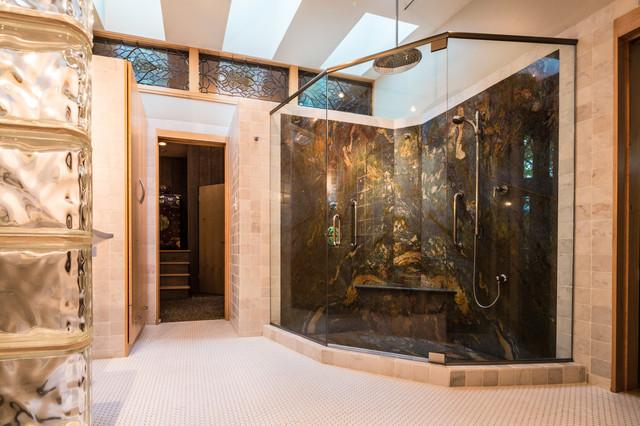 Frank Lloyd Wright Inspired House modern-bathroom