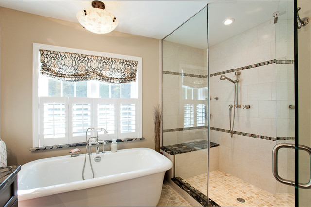 Free Standing Master Bath Tub And Master Bath Walkin Shower - Master bathroom with freestanding tub