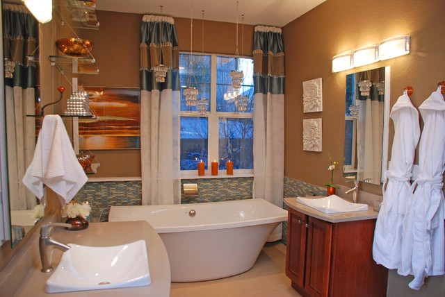 Free standing soaking tub with glass tile wainscot for Updated master bathrooms