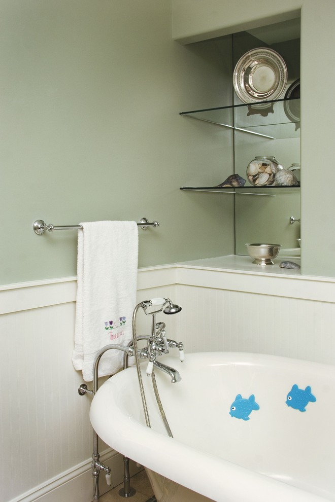 Arts and crafts freestanding bathtub photo in Other with green walls
