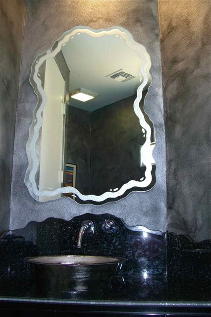 Freeflow Decorative Mirror With Etched Carved Design Bathroom Other Metro By Sans Soucie