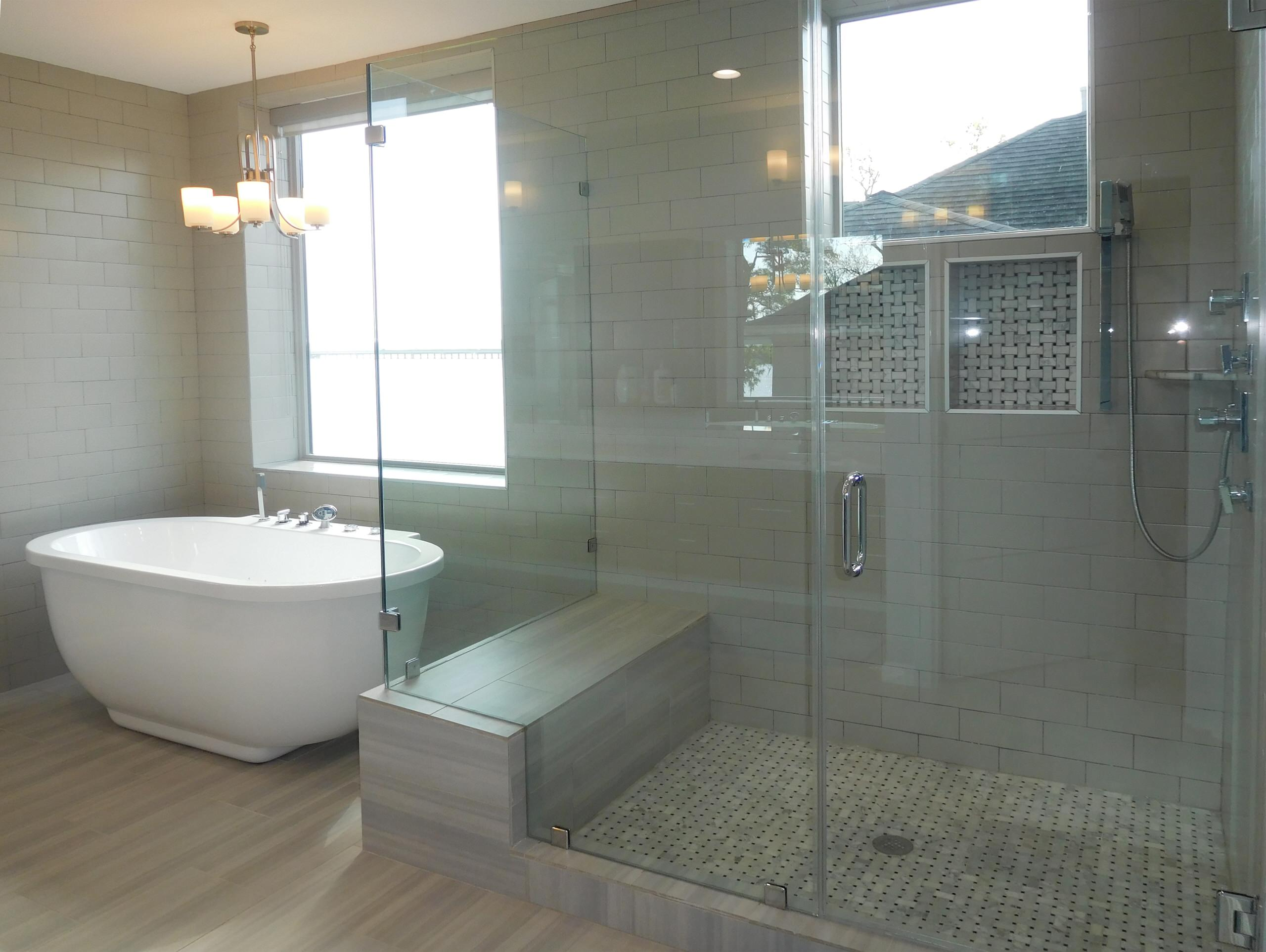 Freestanding tub with separate shower