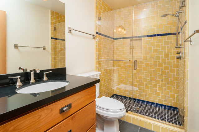 Fremont Blue and Gold Guest Bath - Contemporary - Bathroom ...