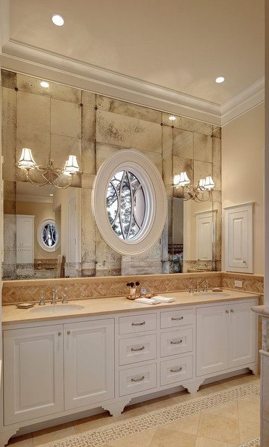 french bistro antique glass at master bath vanity classique salle de bain charleston par. Black Bedroom Furniture Sets. Home Design Ideas