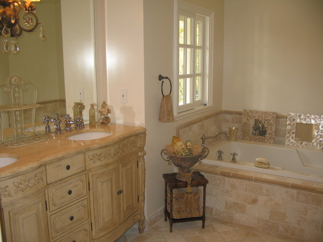French country master bathroom classic travertine crema marfil