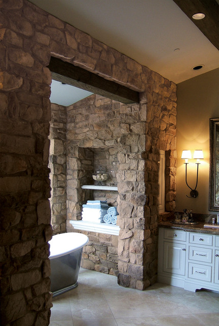 French Country Villa Stone Veneer Bathroom - Coronado Stone Veneer mediterranean-bathroom