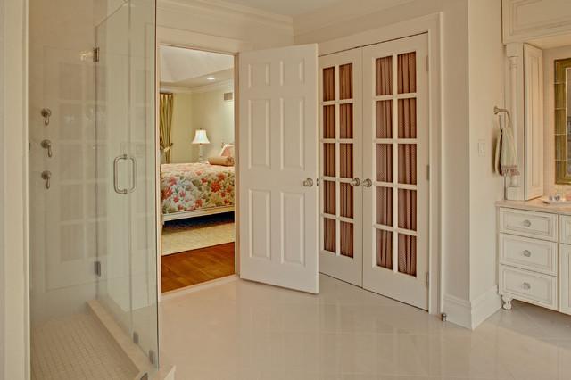 Large Elegant Master Porcelain Tile And Beige Floor Alcove Shower Photo In Newark With